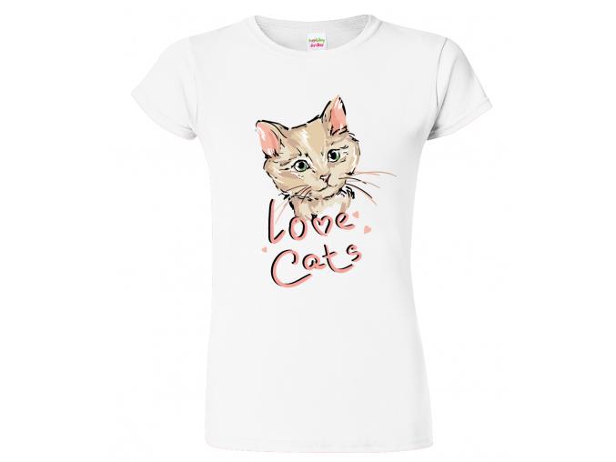 Dámské tričko s kočkou - Love Cats