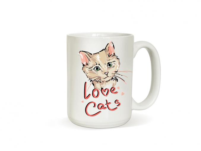 Hrneček s kočkou - Love Cats