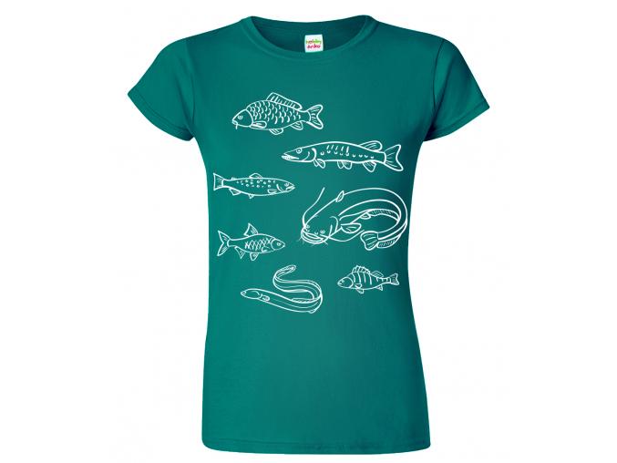 Dámské rybářské tričko - Ryby našich vod