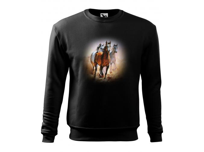 Mikina s koněm hnědákem a bělouši