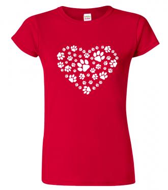 Tričko pro pejskaře - Srdce - psí ťapky