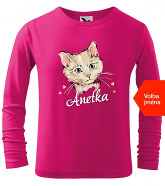 Dětské tričko s kočkou a jménem