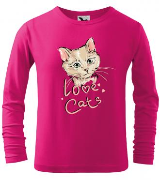 dětské tričko s kresbou kočky