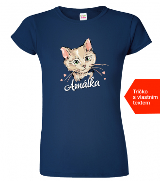 Dámké tričko s kočkou a jménem Navy