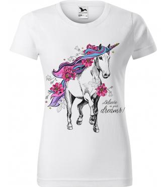 Dámské tričko s koněm - Jednorožec
