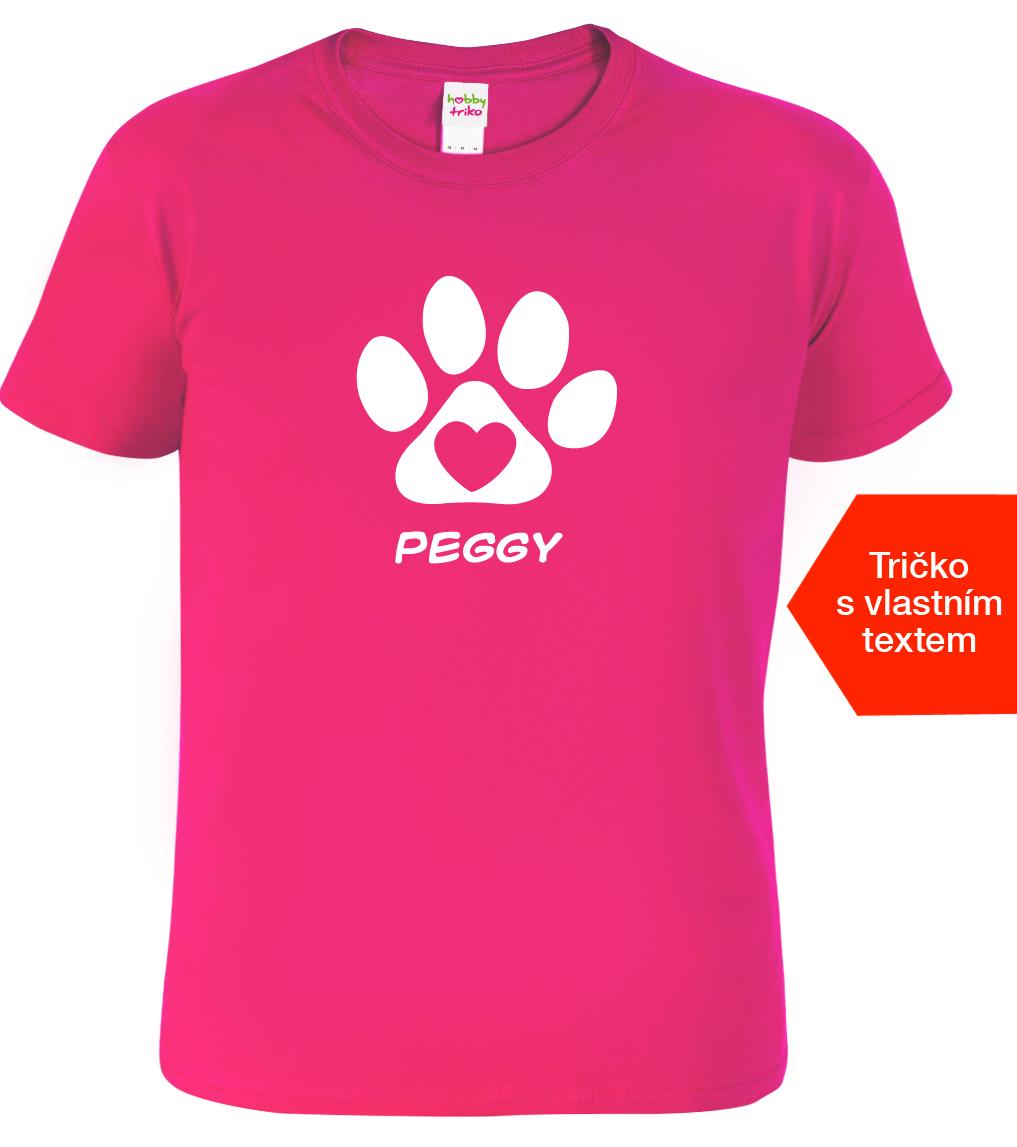 Dětské tričko se jménem psa Barva: Růžová (Fuchsia), Velikost: XS - 102 (3-4 roky)