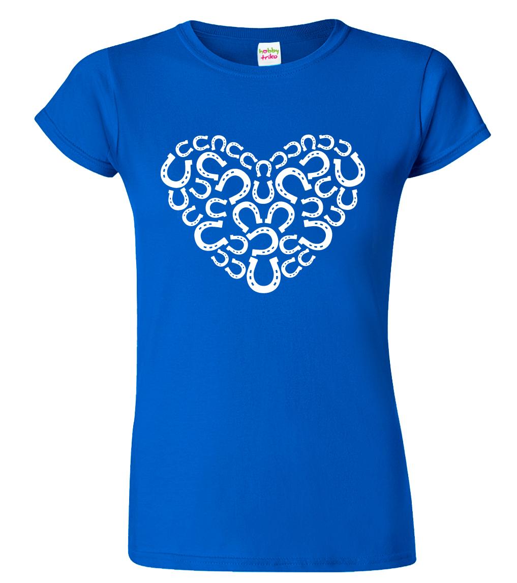 Dámské tričko s koňským motivem - Srdce - podkovy Barva: Modrá (Royal Blue), Velikost: S