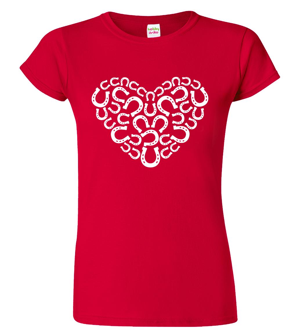 Dámské tričko s koňským motivem - Srdce - podkovy Barva: Červená (Red), Velikost: S