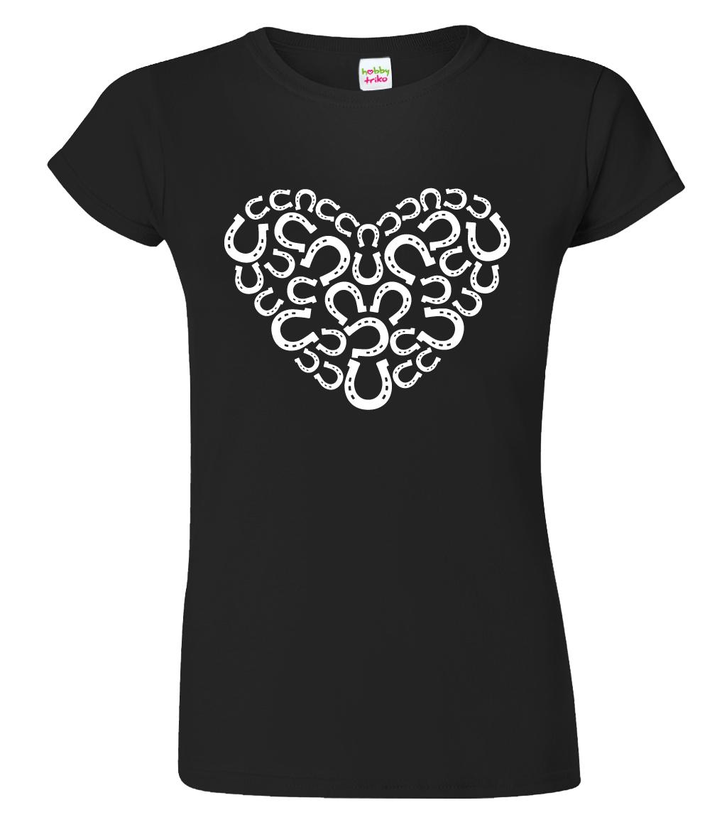Dámské tričko s koňským motivem - Srdce - podkovy Barva: Černá (Black), Velikost: S