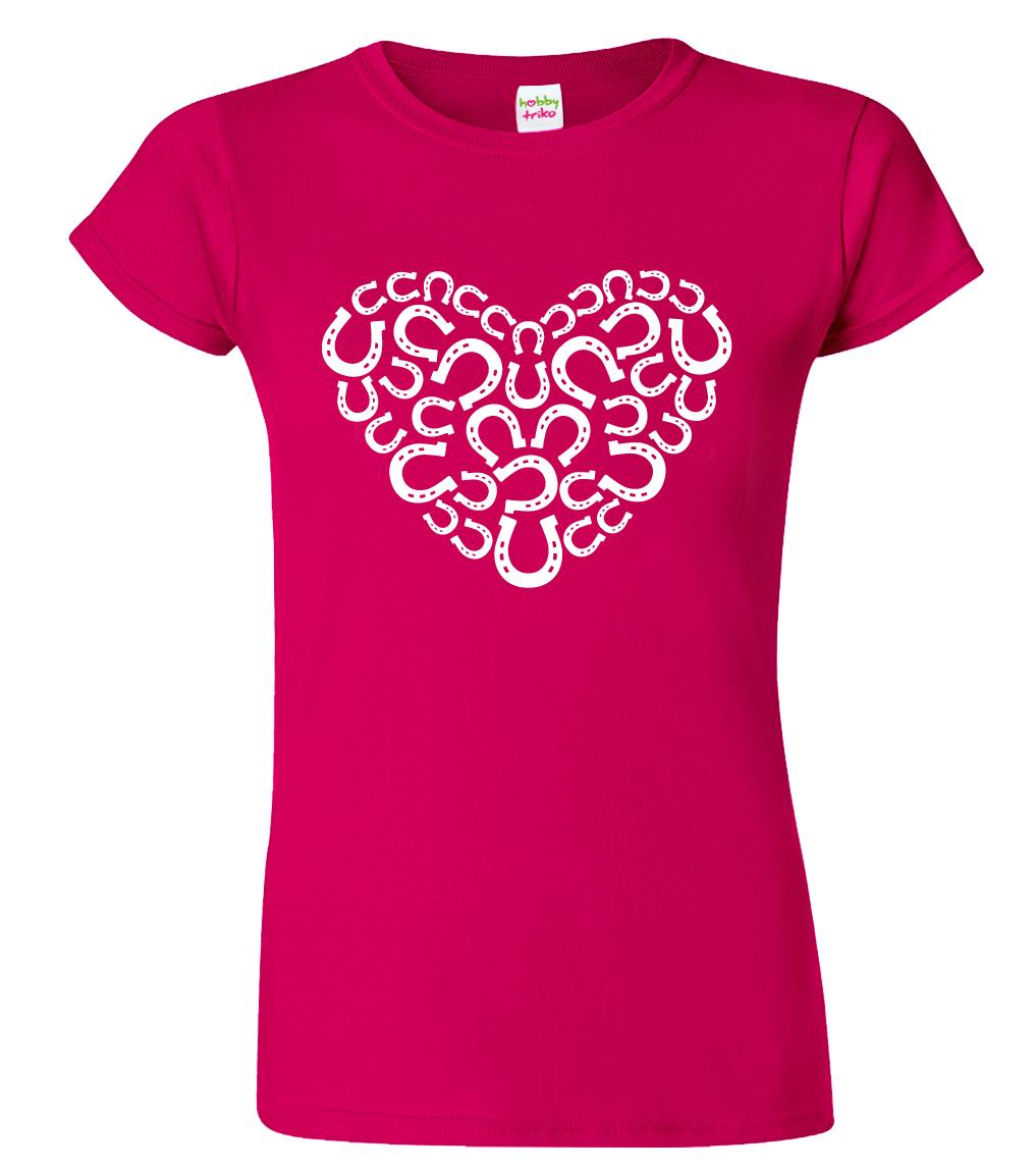 Dámské tričko s koňským motivem - Srdce - podkovy Barva: Tmavě růžová (Sorbet), Velikost: S