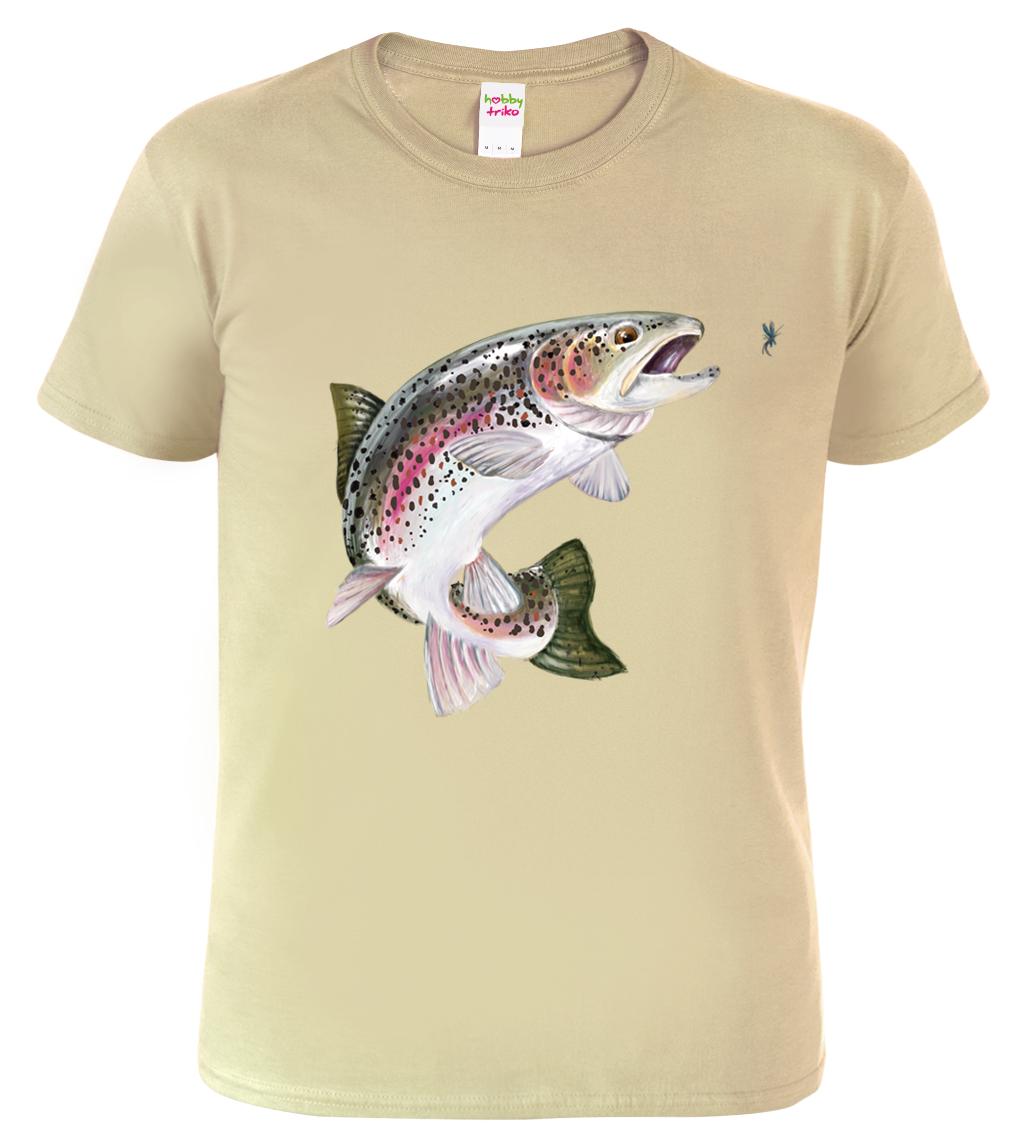 Tričko pro rybáře - Pstruh duhový Barva: Béžová (Sand), Velikost: S