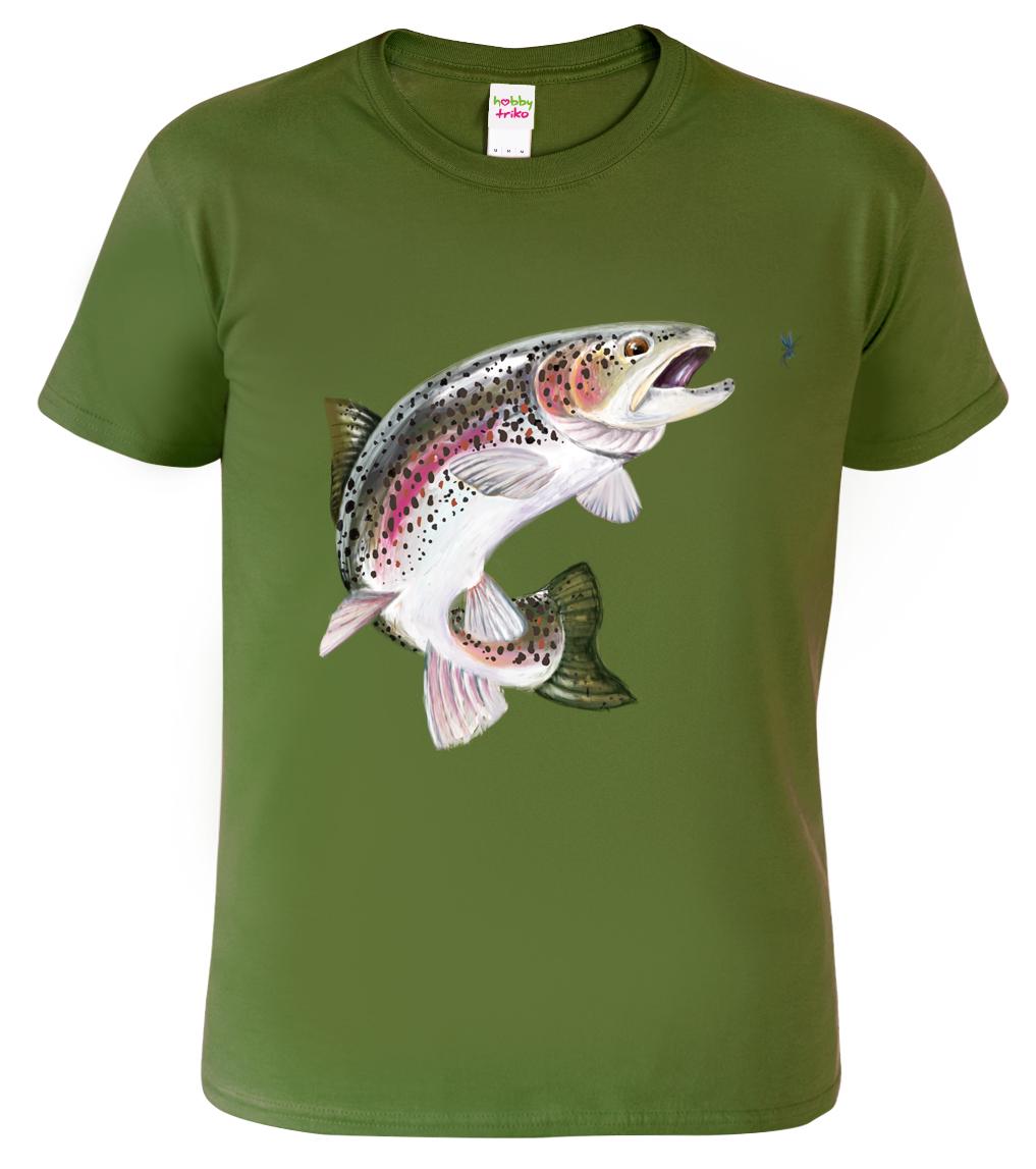 Tričko pro rybáře - Pstruh duhový Barva: Vojenská zelená (Military Green), Velikost: S
