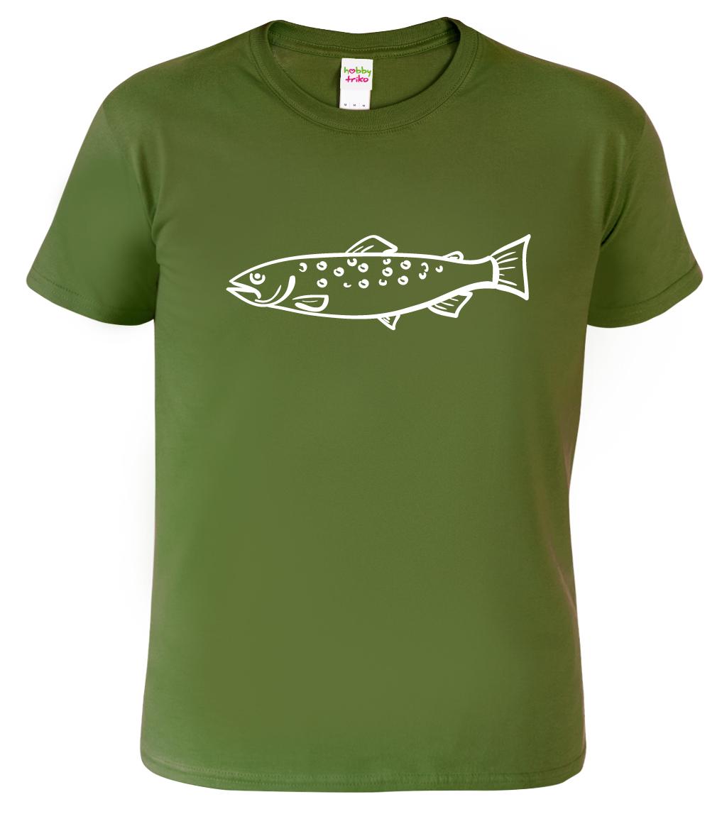 Tričko s rybou - Pstruh duhový Barva: Vojenská zelená (Military Green), Velikost: S