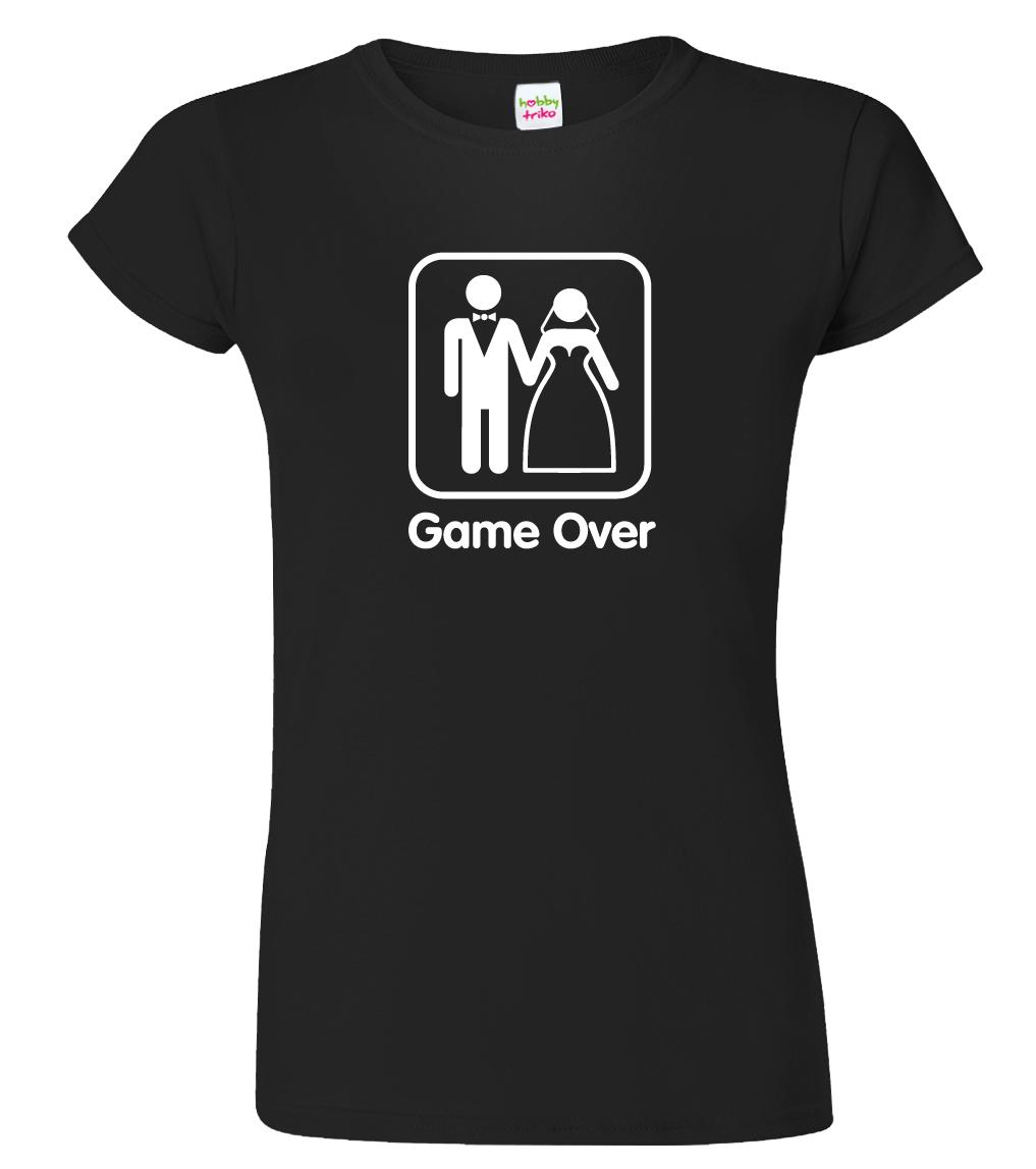 Svatební tričko pro nevěstu - Game Over Barva: Černá (Black), Velikost: S