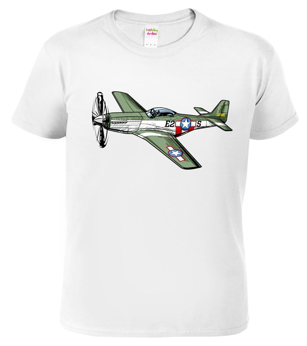 Tričko s letadlem - P-51 Mustang Barva: Bílá, Velikost: S