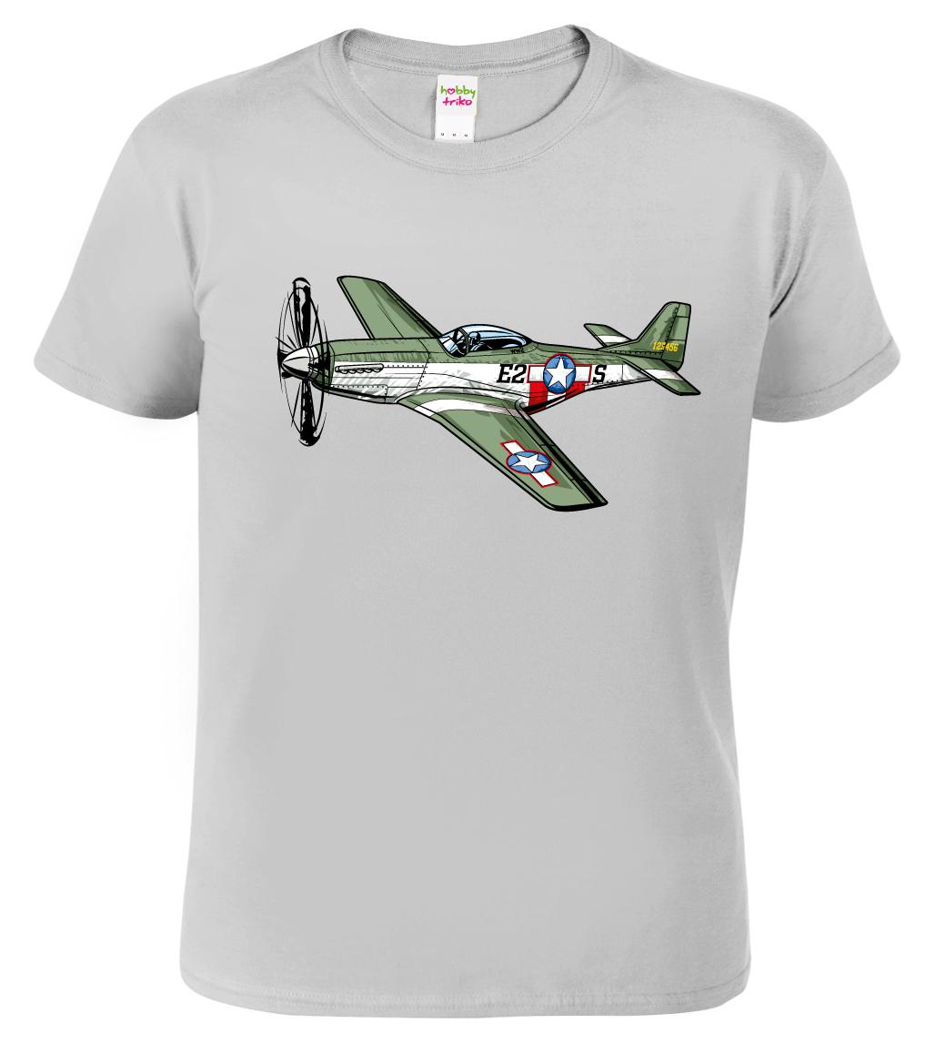 Tričko s letadlem - P-51 Mustang Barva: Šedá - žíhaná (Sport Grey), Velikost: S