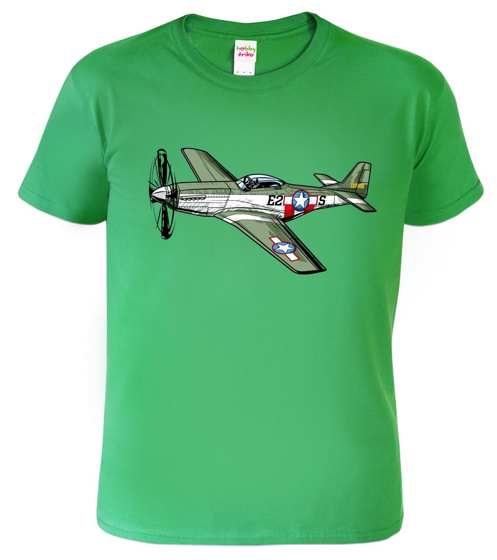 Tričko s letadlem - P-51 Mustang Barva: Zelená (Kelly Green), Velikost: S
