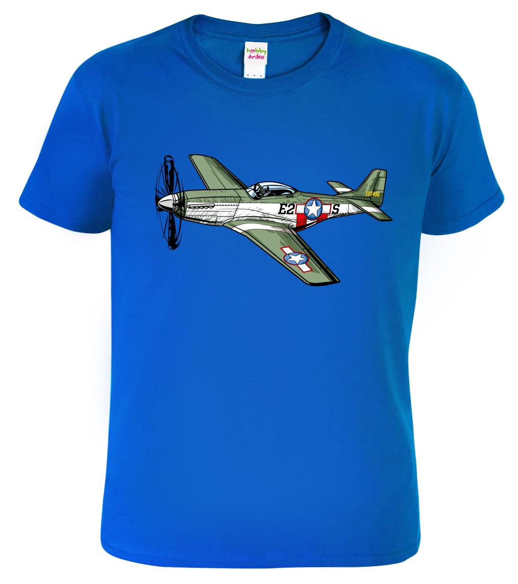 Tričko s letadlem - P-51 Mustang Barva: Modrá (Royal Blue), Velikost: S