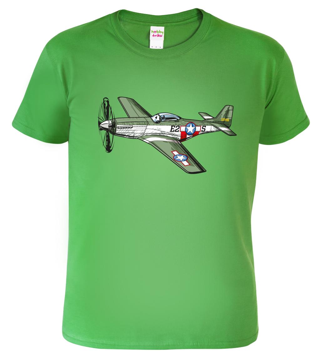 Dětské tričko s letadlem - P-51 Mustang Barva: Zelená (Irish green), Velikost: XS - 102 (3-4 roky)
