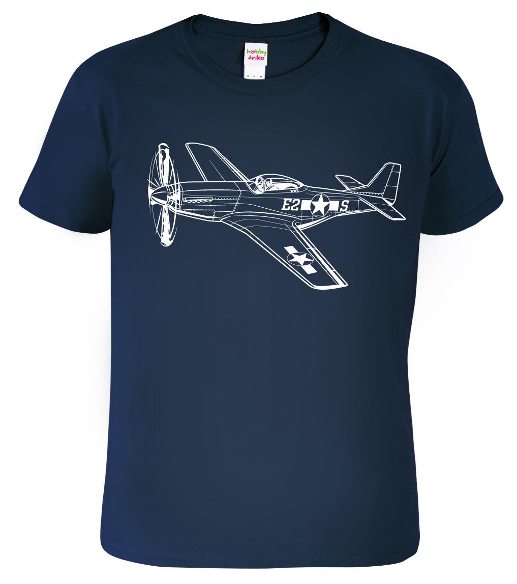 Tričko s letadlem - P-51 Mustang, Black&White Edition Barva: Tmavě modrá (Navy Blue), Velikost: S