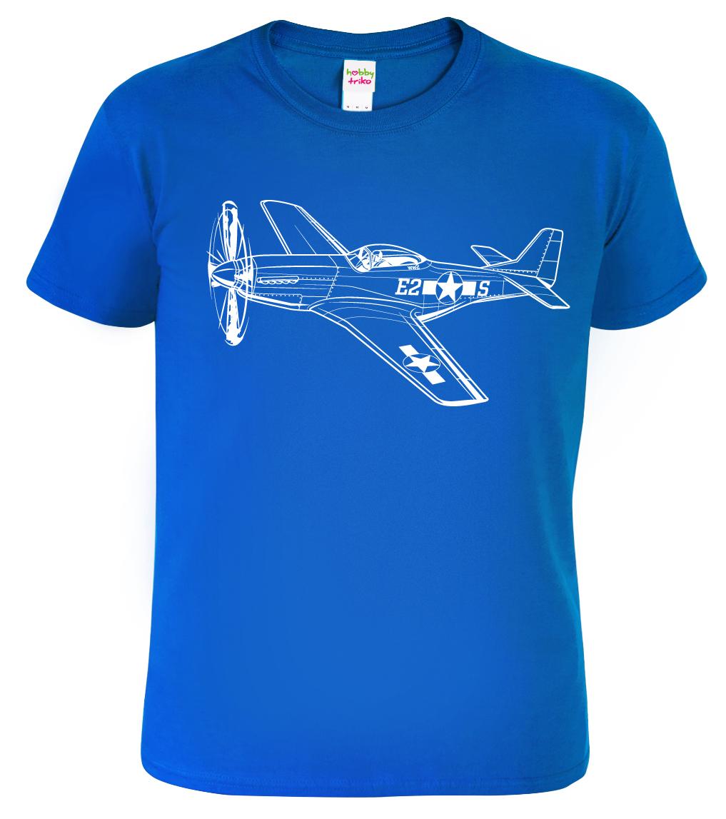 Tričko s letadlem - P-51 Mustang, Black&White Edition Barva: Modrá (Royal Blue), Velikost: S