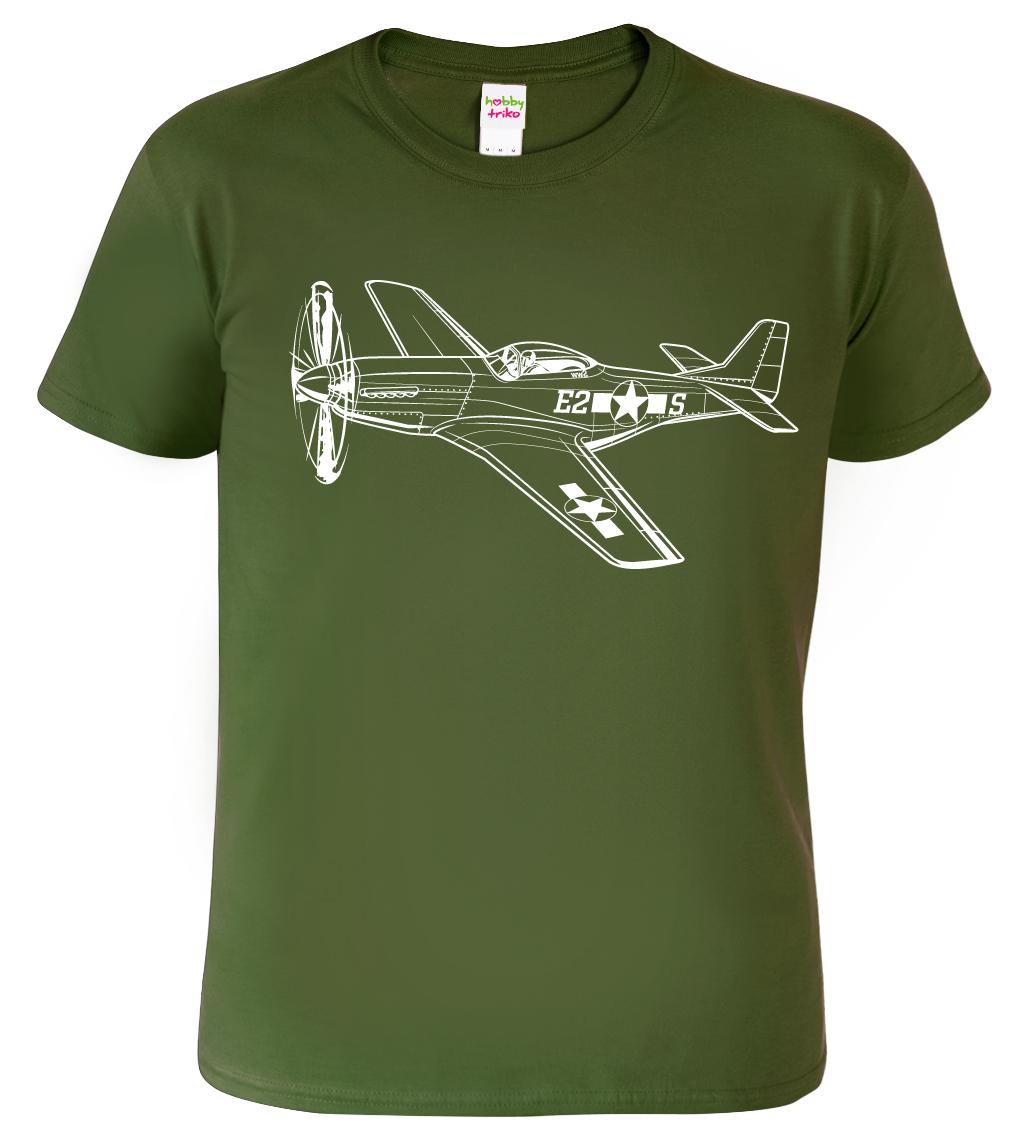Tričko s letadlem - P-51 Mustang, Black&White Edition Barva: Vojenská zelená (Military Green), Velikost: S