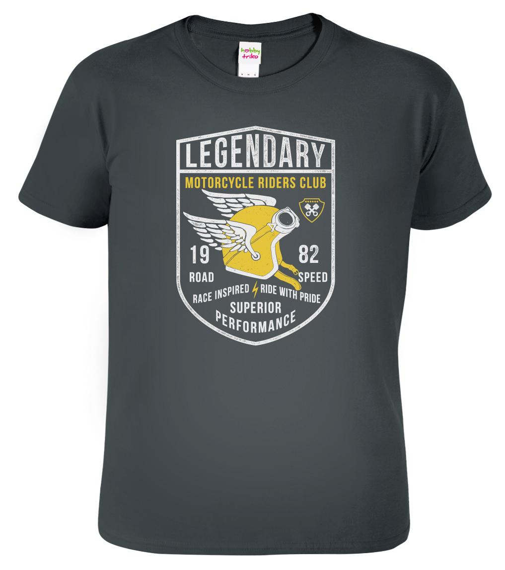 Motorkářské tričko - Winged helmet Barva: Tmavě šedá (Dark Grey), Velikost: S