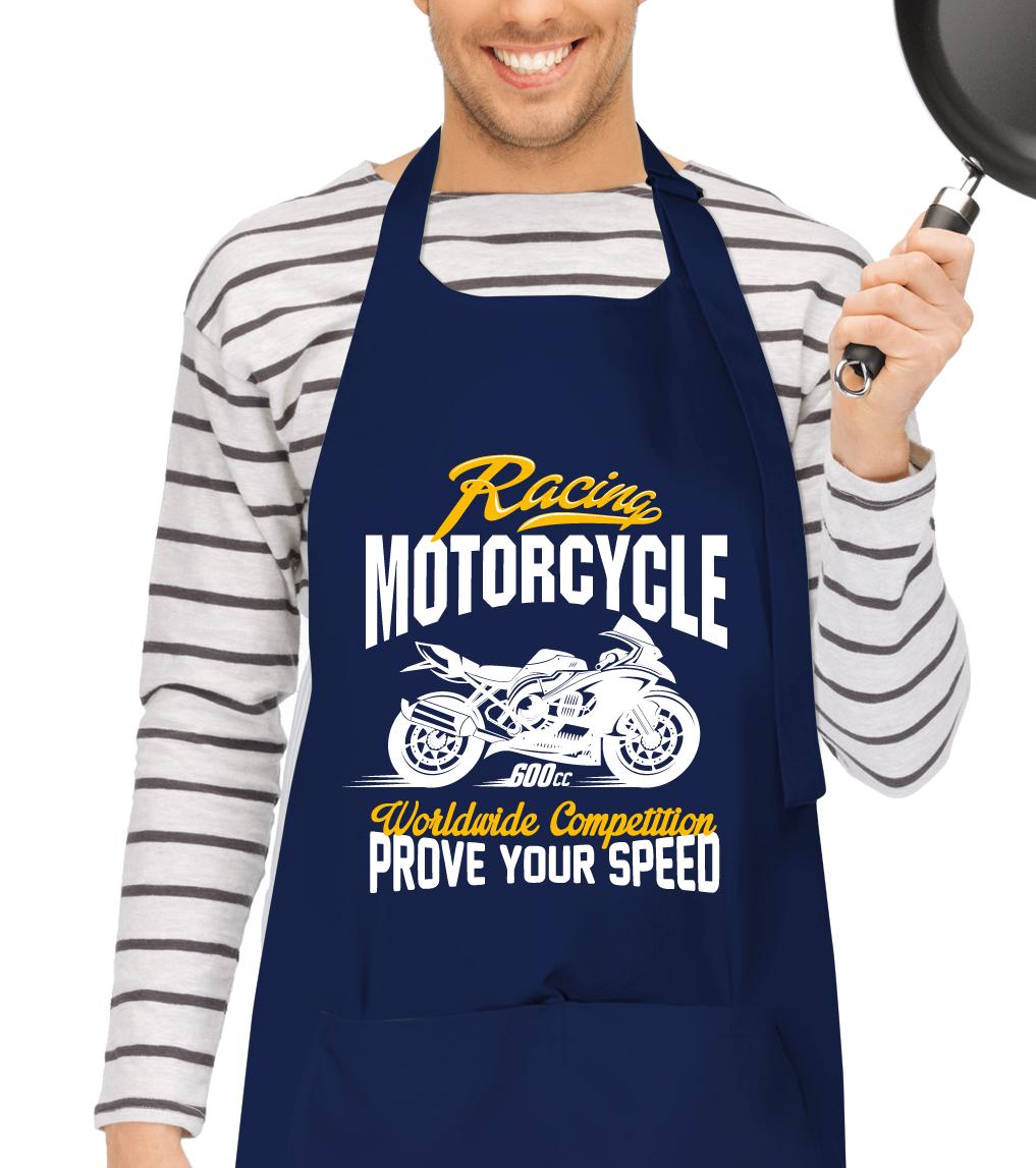 Kuchařská zástěra - Racing Motorcycle Barva: Tmavě modrá