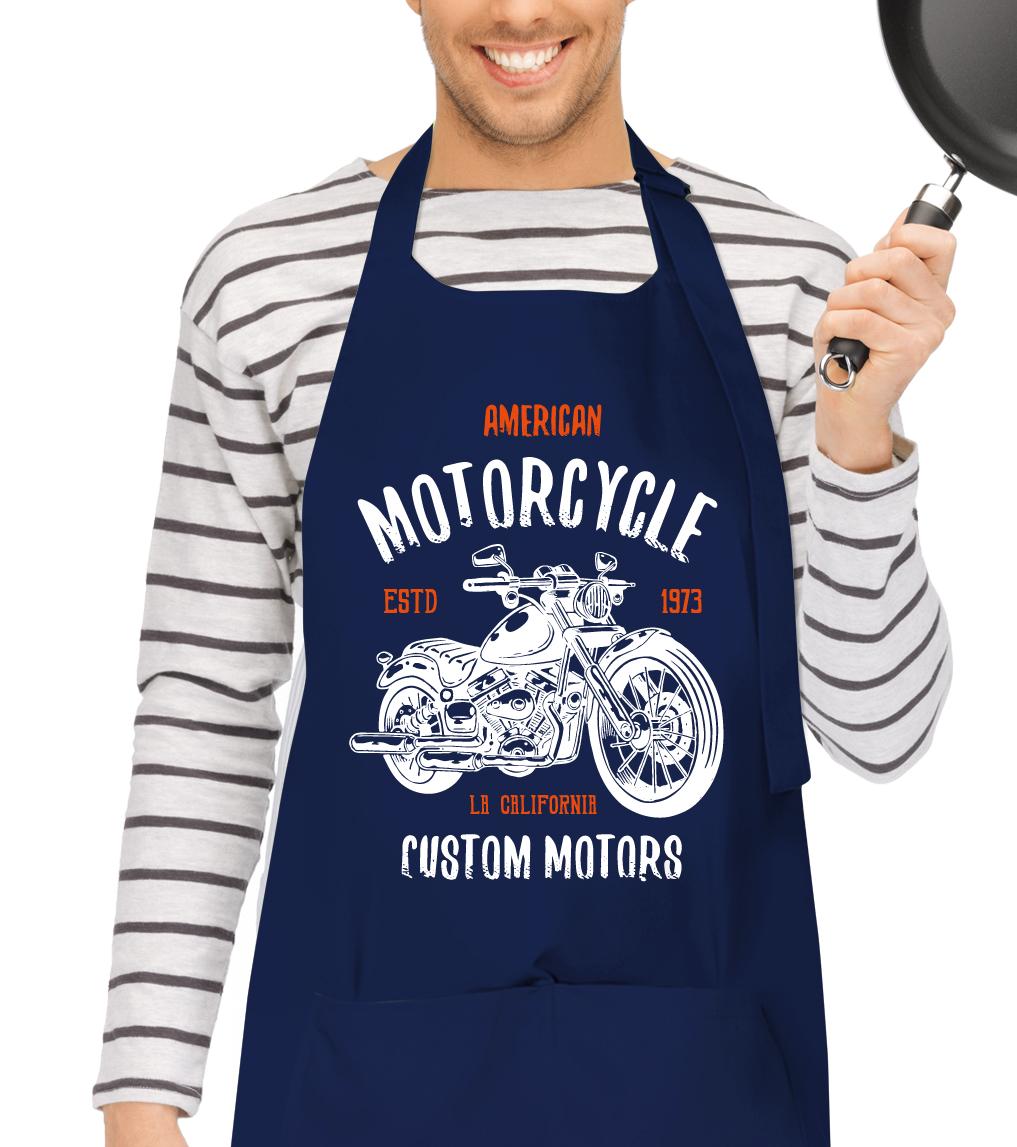 Kuchařská zástěra - American Motorcycle Barva: Tmavě modrá