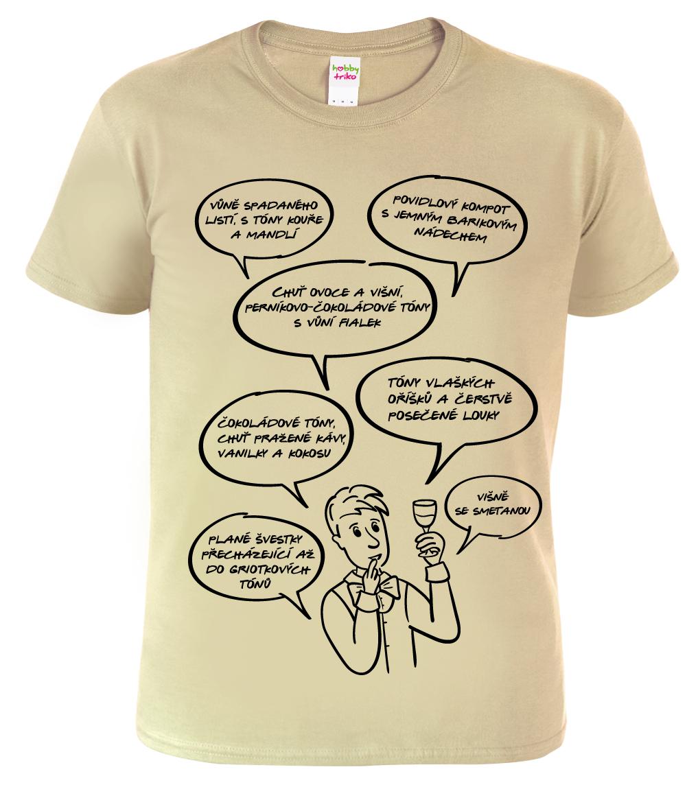 Tričko pro vinaře - Sommelier Barva: Béžová (Sand), Velikost: S