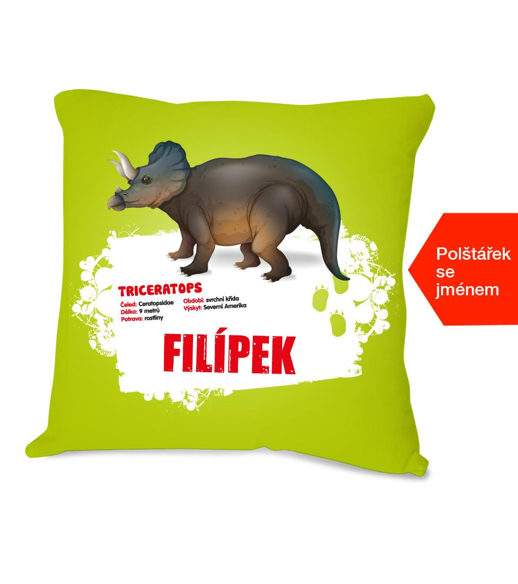 Dětský polštářek se jménem - Triceratops