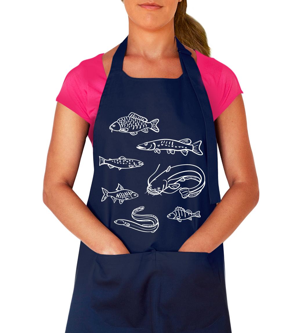 Kuchařská zástěra - Ryby našich vod Barva: Tmavě modrá