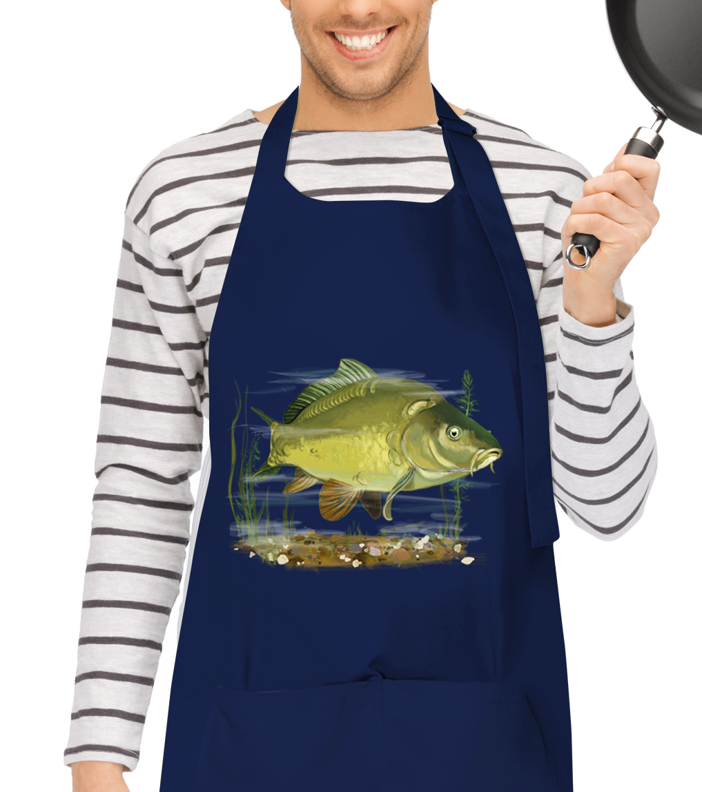 Kuchařská zástěra - Malovaný kapr obecný Barva: Bílá