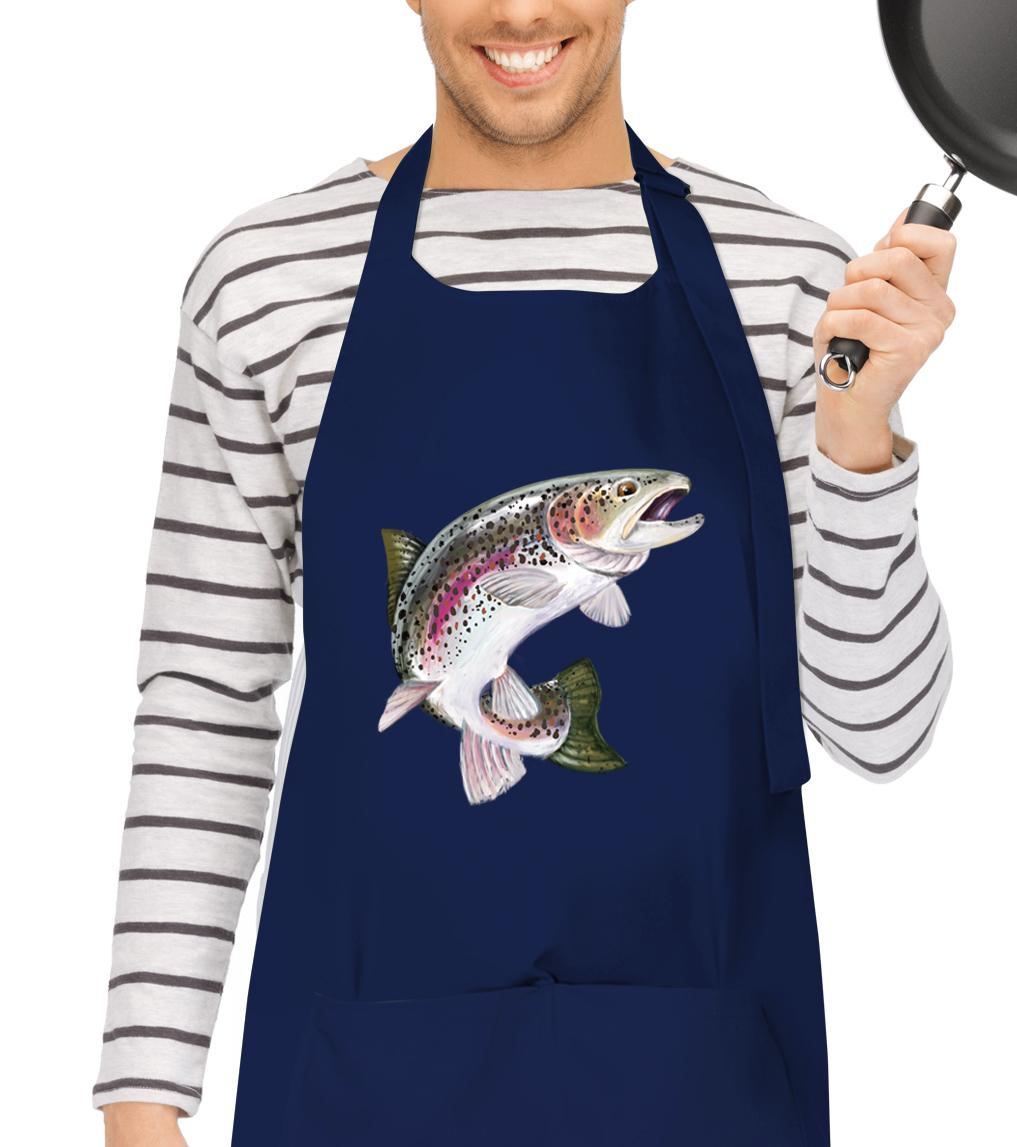 Kuchařská zástěra - Pstruh duhový Barva: Tmavě modrá