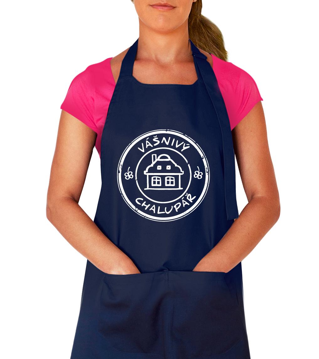 Kuchařská zástěra - Vášnivý chalupář Barva: Tmavě modrá