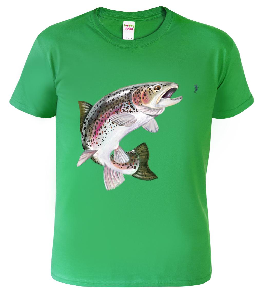 Tričko dětské pro rybáře - Pstruh duhový Barva: Zelená (Irish green), Velikost: XS - 102 (3-4 roky)