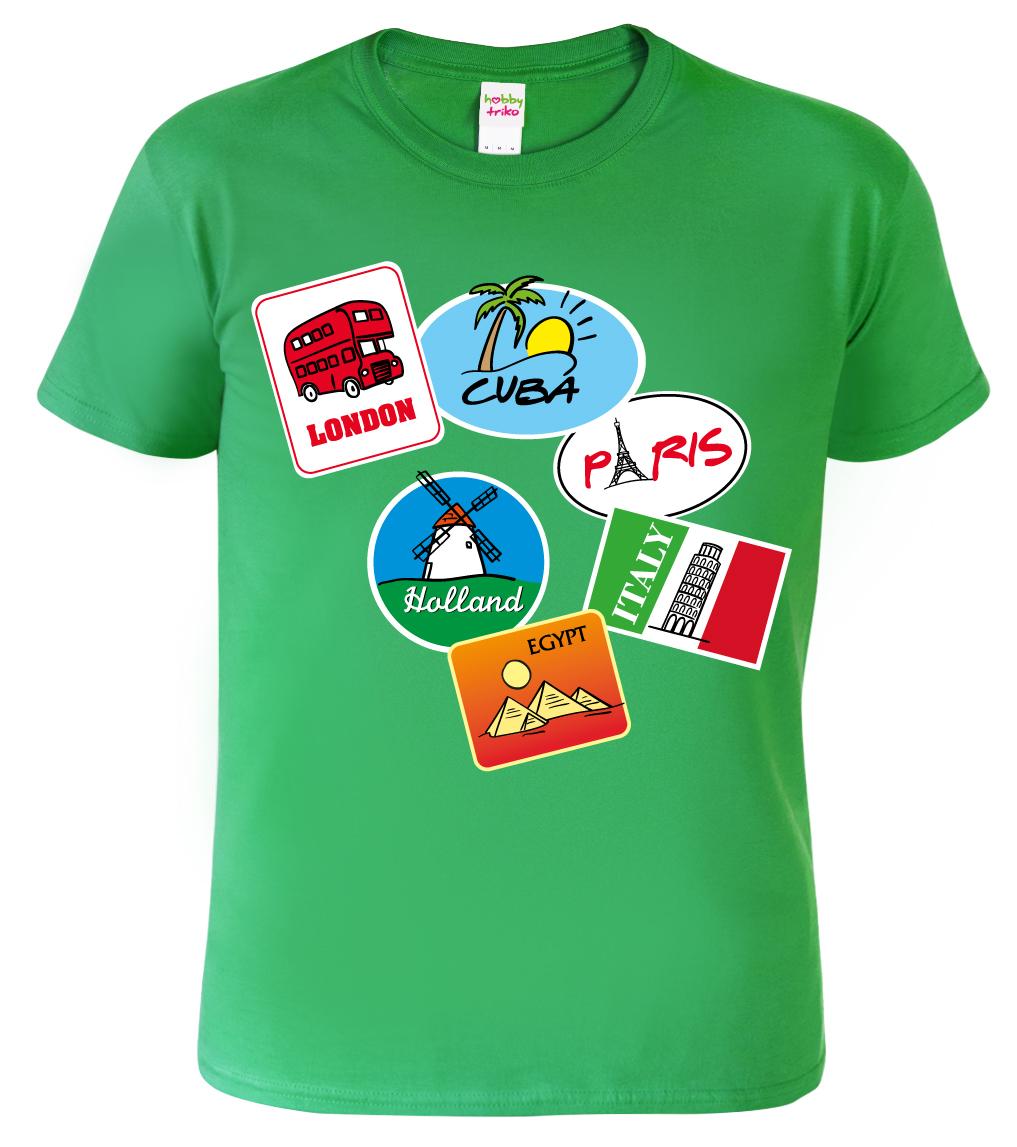 Triko dětské - Cestovatelské symboly - samolepky Barva: Zelená (Irish green), Velikost: XS - 102 (3-4 roky)