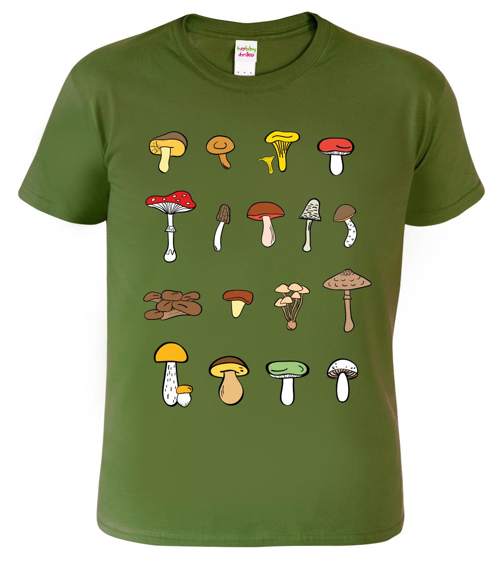 Tričko s houbami - Atlas hub Barva: Vojenská zelená (Military Green), Velikost: S