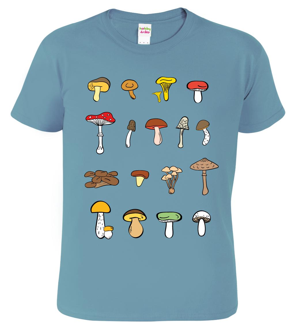 Tričko s houbami - Atlas hub Barva: Bledě modrá (Stone Blue), Velikost: S