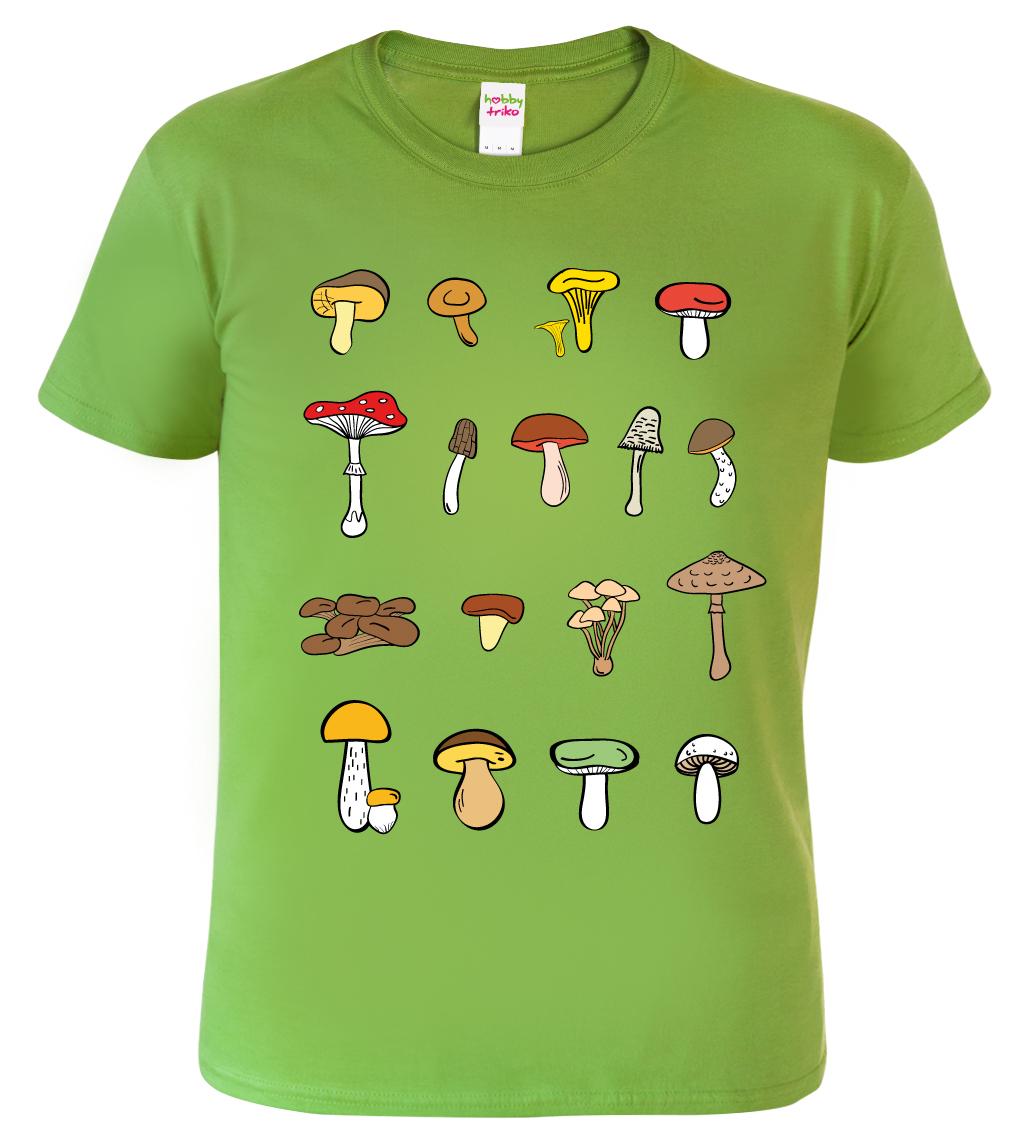 Tričko s houbami - Atlas hub Barva: Zelená (Kiwi), Velikost: S