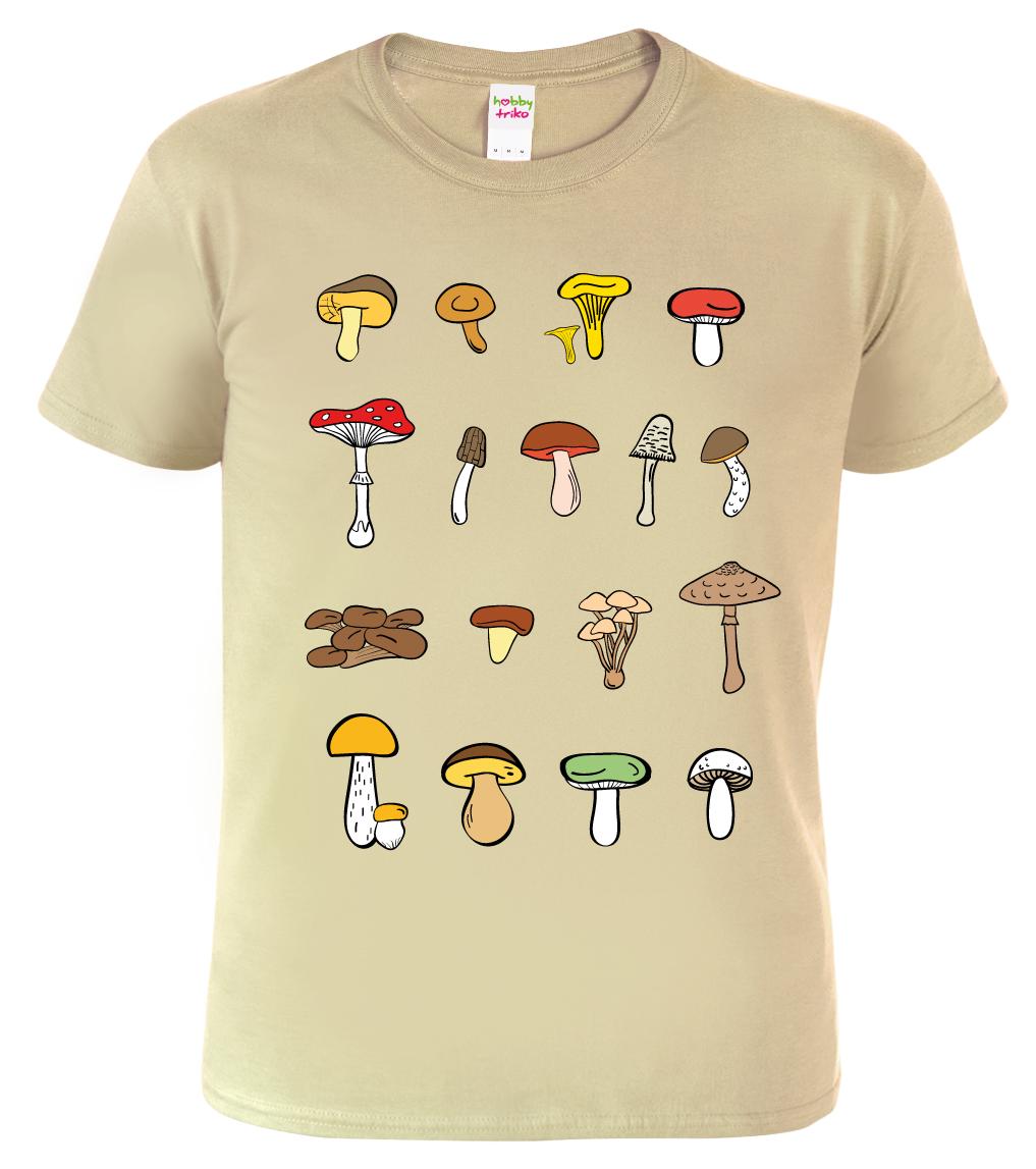 Tričko s houbami - Atlas hub Barva: Béžová (Sand), Velikost: S