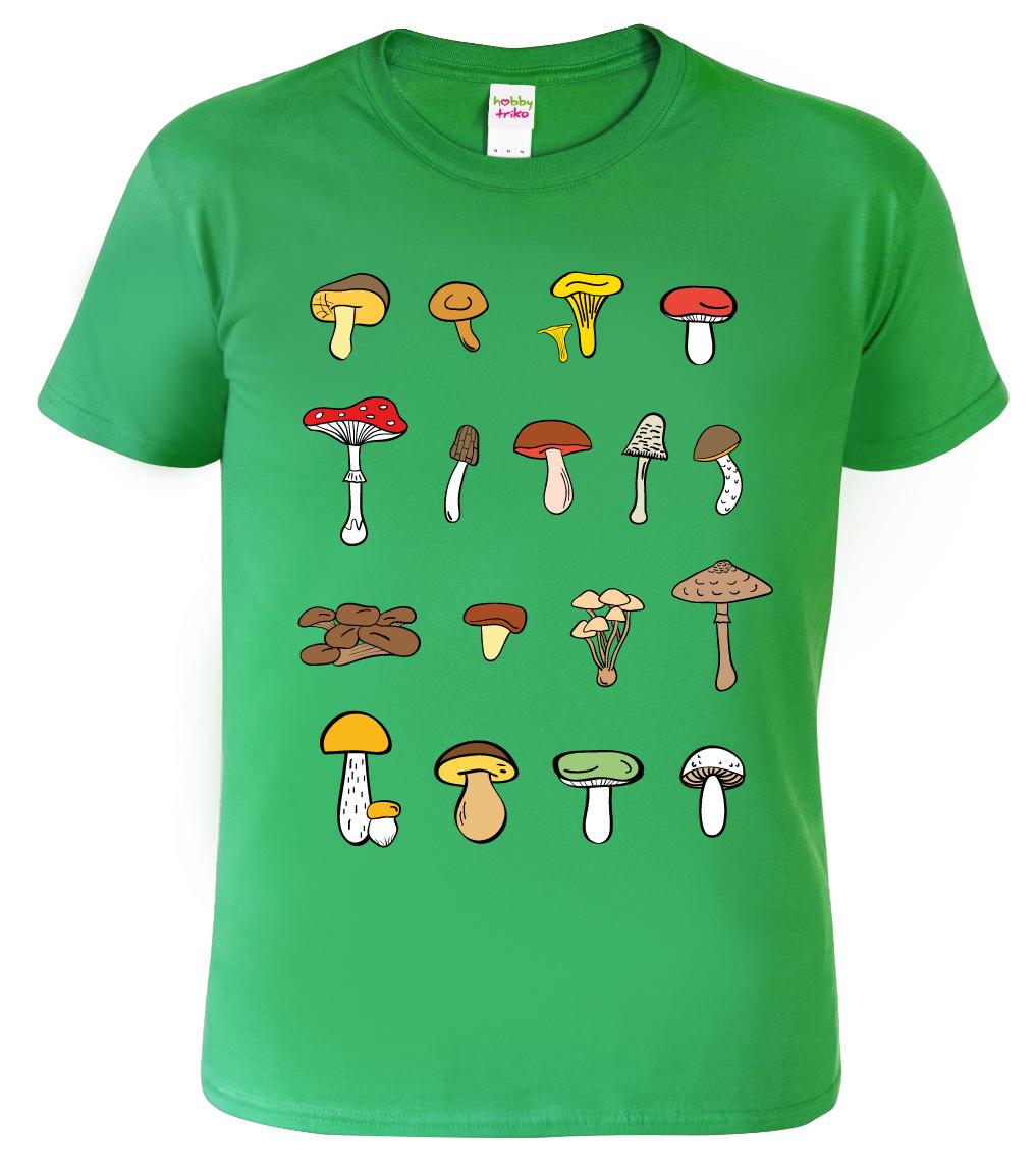 Tričko s houbami - Atlas hub Barva: Zelená (Kelly Green), Velikost: S