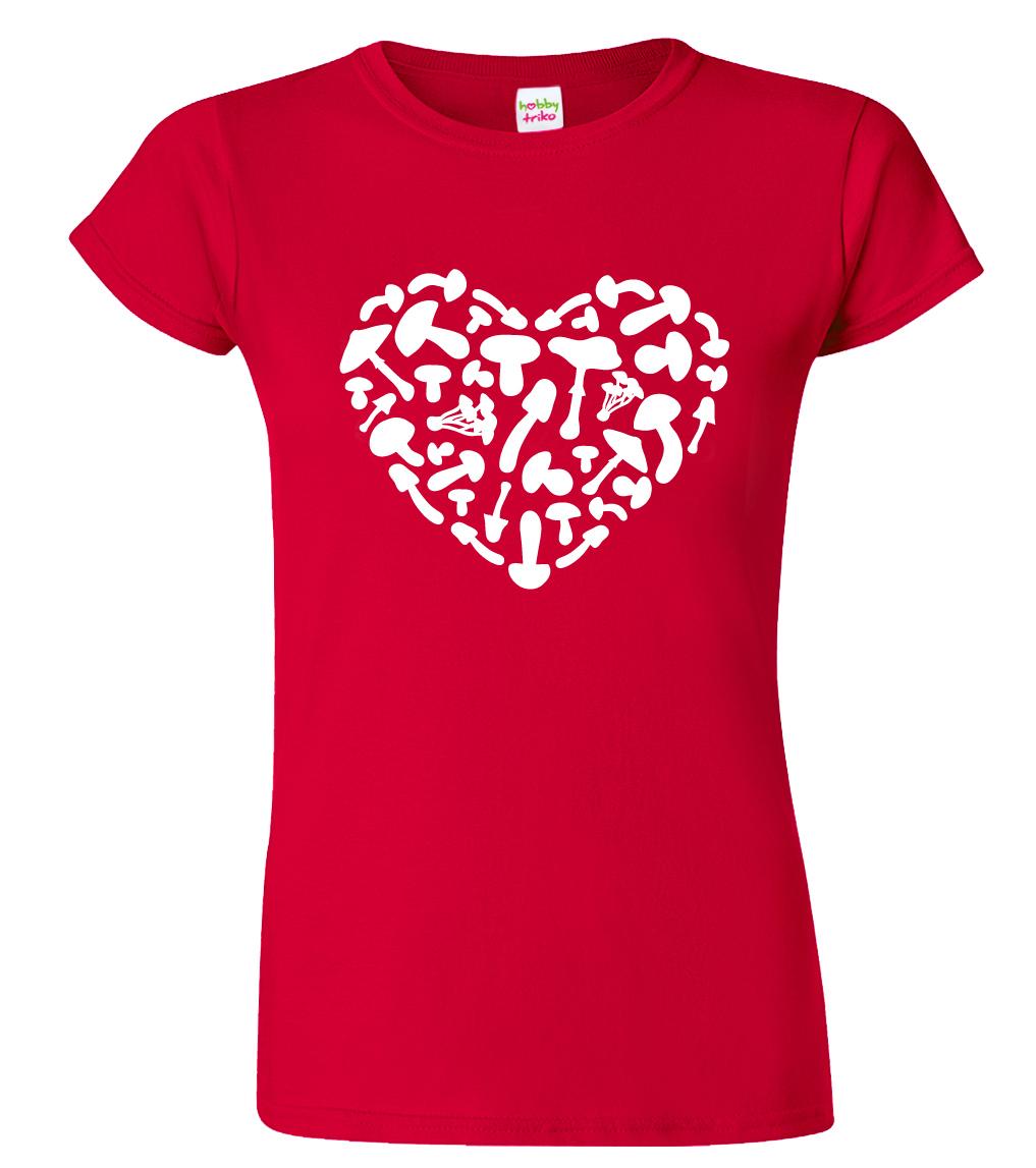 Dámské houbařské tričko - Srdce Barva: Červená (Red), Velikost: S