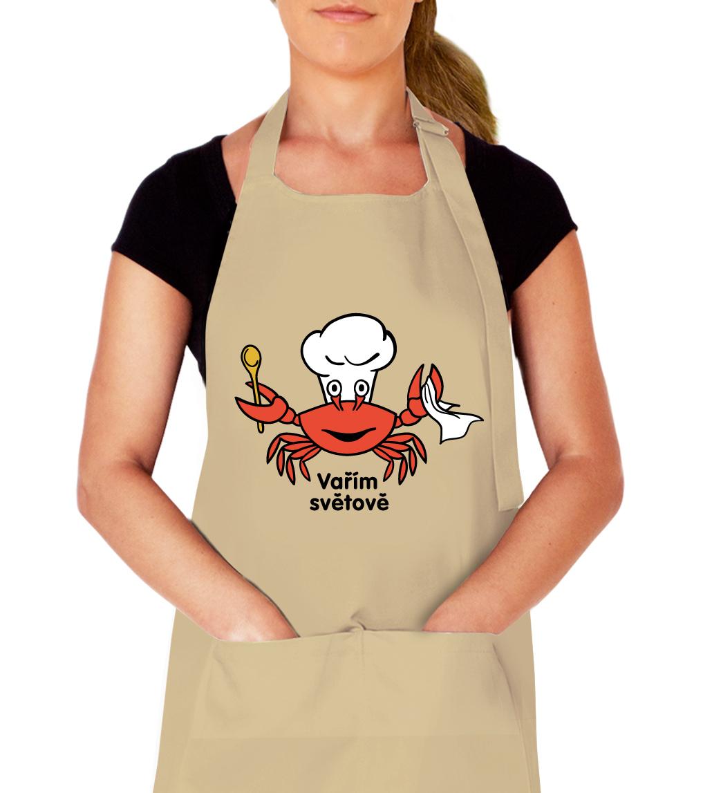 Kuchařská zástěra - Vařím světově Barva: Béžová
