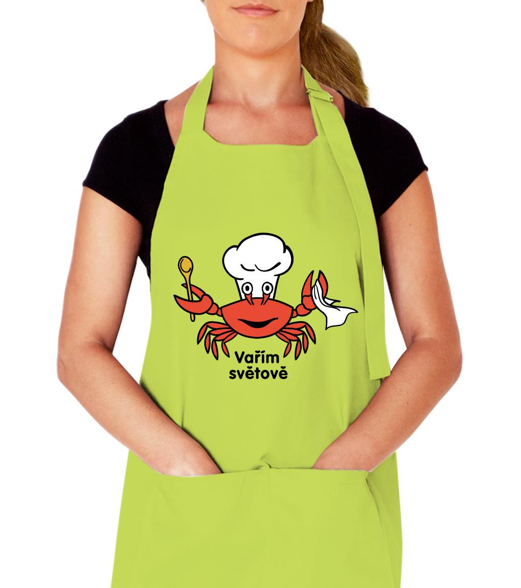 Kuchařská zástěra - Vařím světově Barva: Svěží limetka