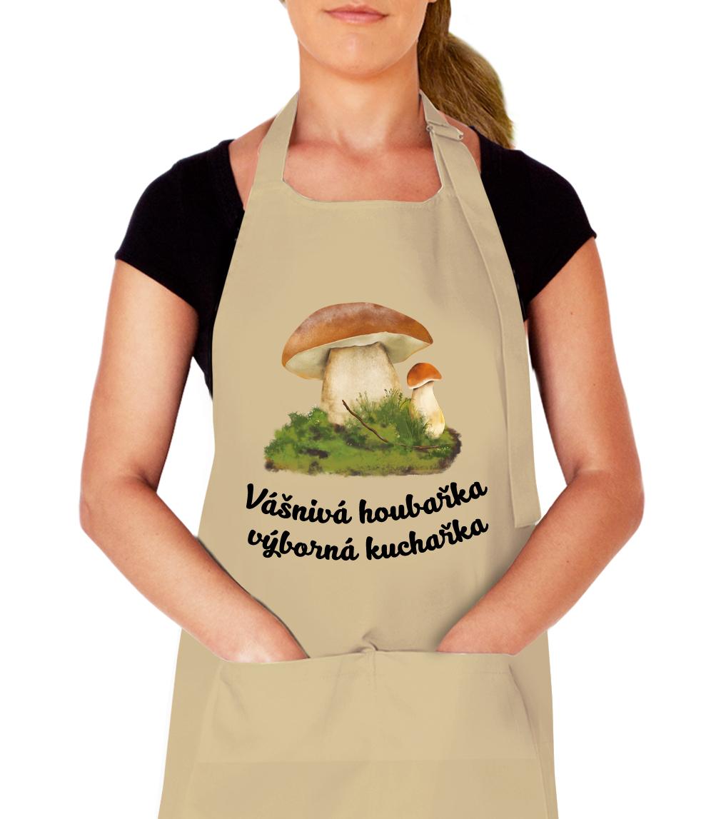 Kuchařská zástěra pro houbaře - Vášnivá houbařka výborná kuchařka Barva: Béžová