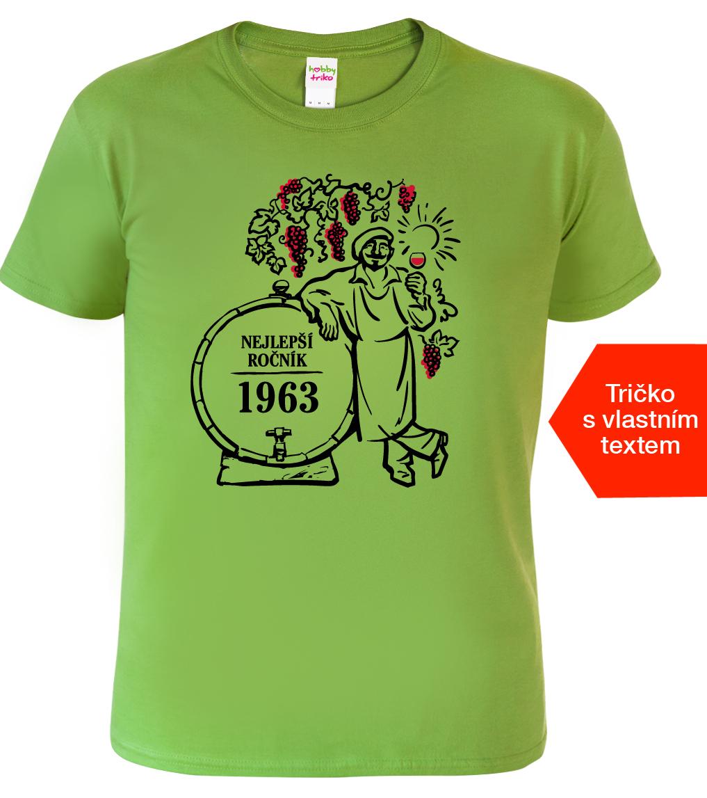Tričko k narozeninám pro vinaře - Nejlepší ročník Barva: Zelená (Kiwi), Velikost: S