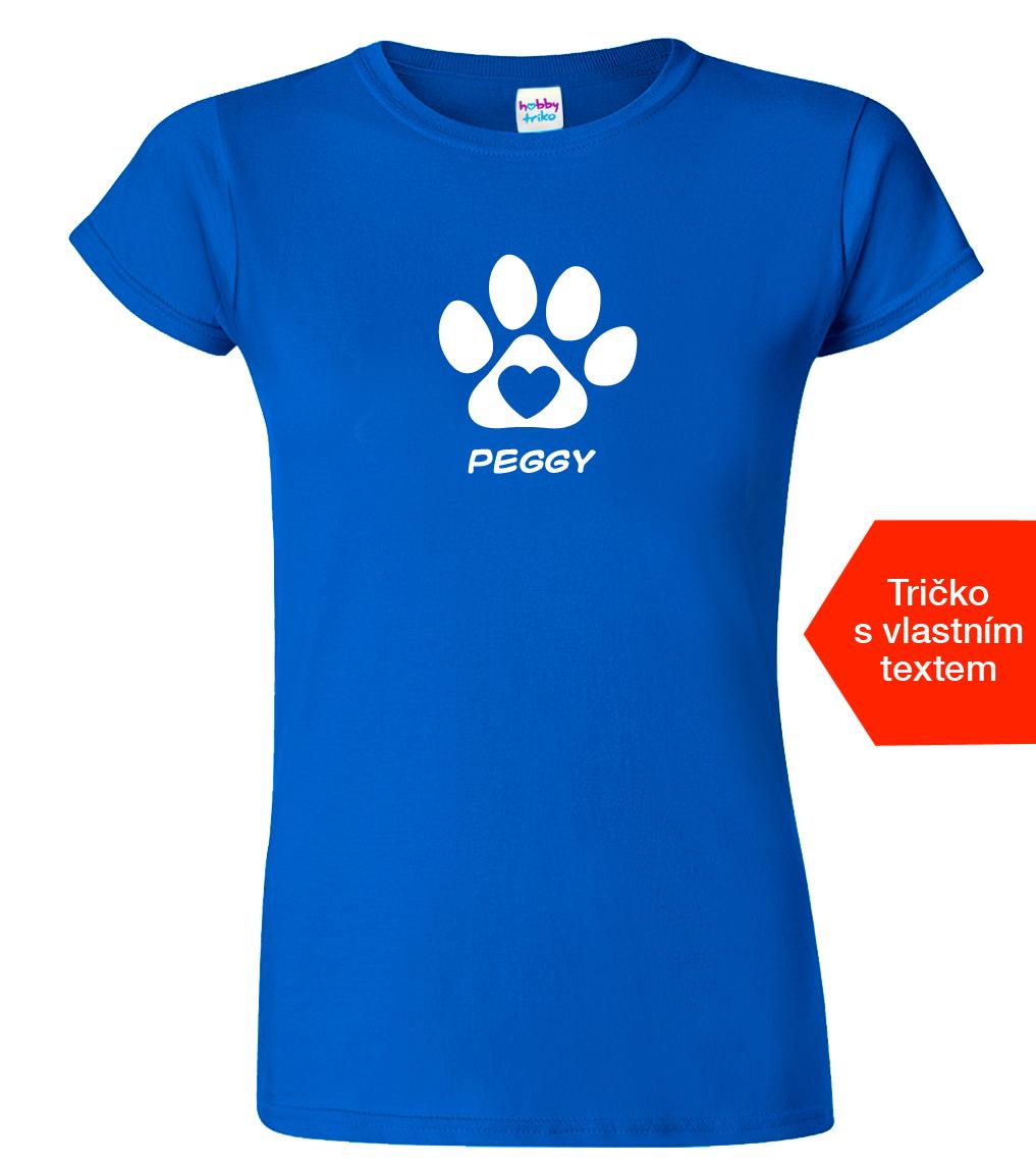 Tričko se jménem vašeho psa Barva: Modrá (Royal Blue), Velikost: S