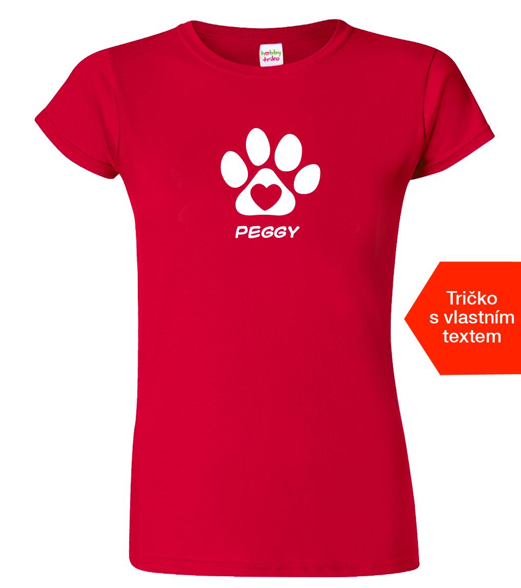 Tričko se jménem vašeho psa Barva: Červená (Cherry Red), Velikost: S