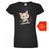 Dámké tričko s kočkou a jménem Black